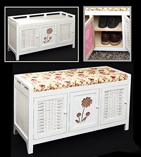 Ikea Kleiderschränke Jugendzimmer ~   Flurbank Kommode Bad Sitzbank mit Schuhregal Schuhschrank in Weiß